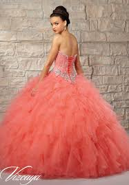 quinceanera dresses coral beaded lace bodice on a ruffled tulle skirt quinceanera dress