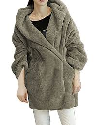 Winter Deals On S Gray Sleeve Fluffy Hoodie Winter Coat S Check Out
