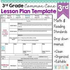 Weekly Lesson Plan Template Common by Third Grade Common Lesson Plan Template By Math Tech Connections