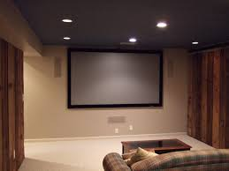 home theater size living room theater showing some patching lamps on grey ceiling
