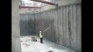 spray application of vandex unimortar 1 tanking slurry to piled