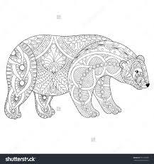 vector zentangle polar bear head anti stress coloring