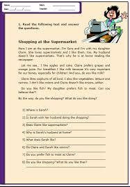 at the supermarket reading comprehension worksheet