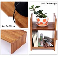 2 Tier Desk by Bamboo Monitor Stand Riser With 2 Tier Desktop Storage Organizer