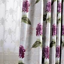 Purple Floral Curtains Floral Print Polyester Shabby Chic Bedroom Curtains