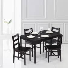 cuisine dinette ikayaa moderne 5 pcs pin bois table à manger ensemble cuisine