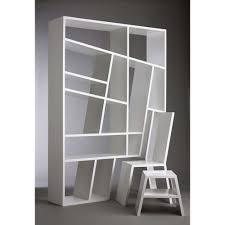 wonderfully asymmetrical bookcase for living room interier