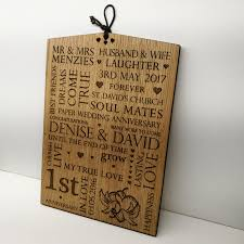 wedding anniversary plaques wedding anniversary gift personalised oak wooden plaque sign 1st