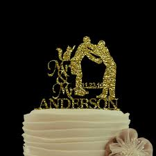 wedding decoration gold glitter cake topper mr and mrs wedding