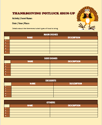 12 thanksgiving potluck signup sheets with thankgiving vector