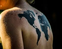 World Map Outline Tattoo by Map Of The World Tattoo On Freckled Back This Lovely Tatto U2026 Flickr