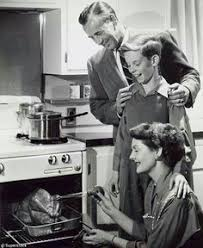 vintage photo looks like is taking the thanksgiving turkey