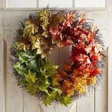 faux fall leaves oversized 28 wreath pier 1 imports