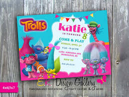 theme invitations trolls theme birthday party invitation printed