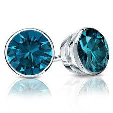 blue diamond stud earrings certified 14k white gold bezel blue diamond stud earrings