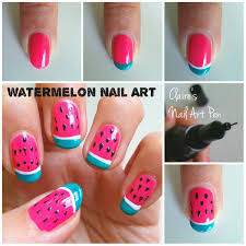 nail art design watermelons