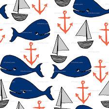 nautical whales navy blue and orange kids fabric cute whales