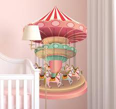 sticker chambre fille sticker chambre fille carrousel coloré tenstickers