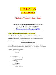 Colon Worksheet Eng 235 Week 2 Word Analysis Worksheet Doc Part Of Speech Word