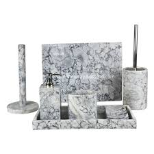 china 7pcs white marble bathroom accessories set manufacturers