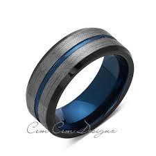 wedding bans 8mm brushed gun metal gray and black blue tungsten ring mens