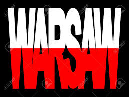 overlapping warsaw text with polish flag illustration stock photo