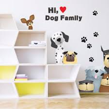 sticker mural chambre chiens patte impression famille stickers muraux pour enfants