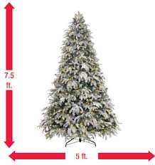 home accents 7 5 ft pre lit led flocked mixed pine tree