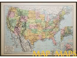 United States And Mexico Map by States Canada Mexico Inlay Alaska Antique Map By Eugene Belin 1890