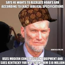 Bible Memes - a meme about ken ham in a hat god of evolution