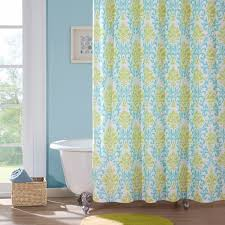 paige apple green teal damask pattern polyester shower curtain