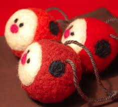3 needle felted ladybug christmas ornaments needle felting felt