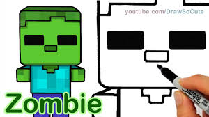 how to draw minecraft zombie cute and easy step by step youtube