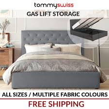 Double Bed Frames For Sale Australia Tommy Swiss New King Queen U0026 Double Gas Lift Storage Fabric Bed