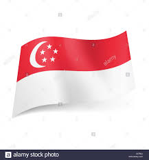 national flag of singapore stripe with crescent moon and five