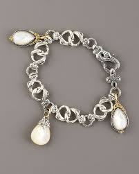charm bracelet pearl images Lyst konstantino mother of pearl charm bracelet in metallic jpeg