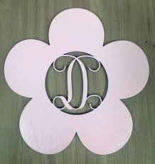 initial home decor unfinished wood flower monogram door hanger laser cutout w your