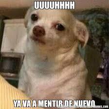 Uuuuhhhh Meme - uuuuhhhh ya va a mentir de nuevo meme de perro chihuahua enojado