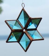 turquoise and copper 3d stained glass suncatcher ornament