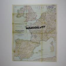 Map Western Europe by Wanderlust Europe Travel Quote Vintage Map Art U2013 The Rivertown Inkery