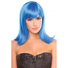halloween costumes wigs dark blue shoulder length doll wig with bangs halloween mardi