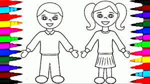 School Girl And Boy Coloring Pages L Kids Drawing Coloring Videos Boy Color Pages