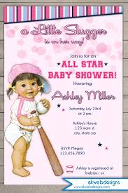 cute baseball baby shower invitations with pink background colors