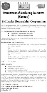vacancy for marketing executives sri lanka rupavahini corporation