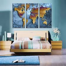 World Map Home Decor Sale 3 Panel Vintage World Map Europe Painting Home Decor Wall