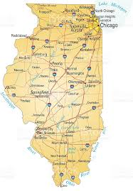 of illinois map map of illinois showing major cities and roads stock vector