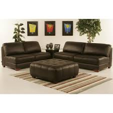 armless all leather tufted seat sofa and loveseat with ottoman