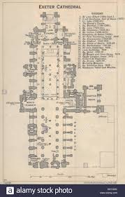 exeter cathedral floor plan 1939 vintage map stock photo