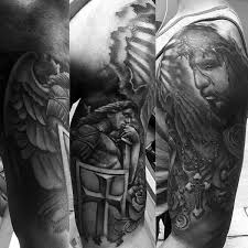 collection of 25 cross and praying half sleeve tattoos