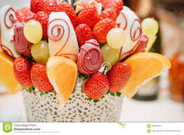 fruit bouque fruit bouquet decoration on the dining table stock photo image